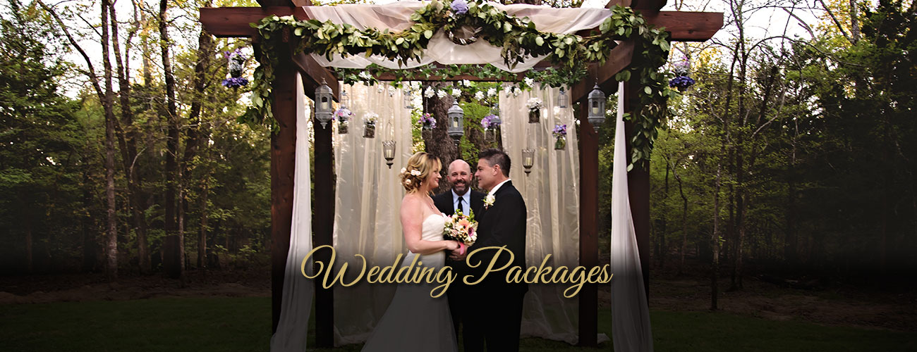 Image of bride, groom, wedding officiator - Whispering Oaks Wedding Venue